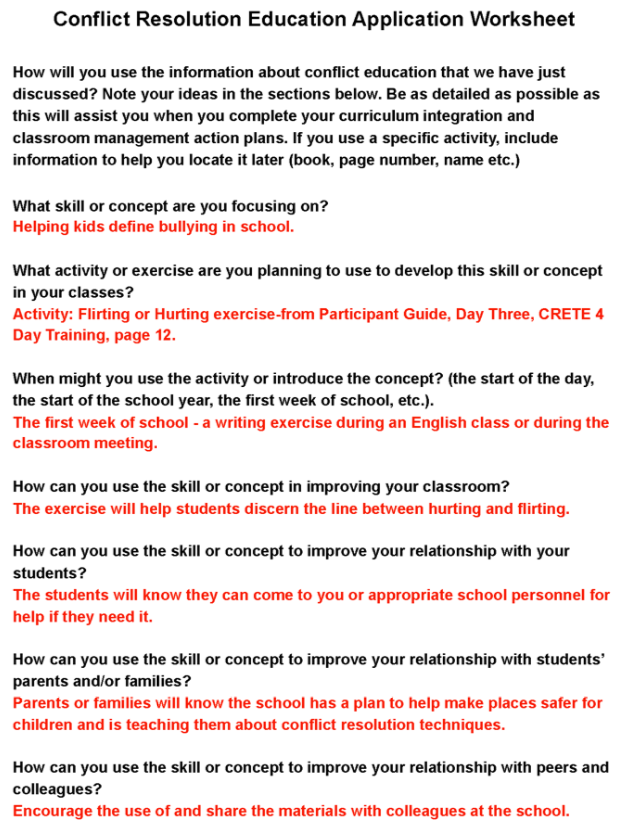 Printable Worksheets conflict management worksheets : Pre-knowledge